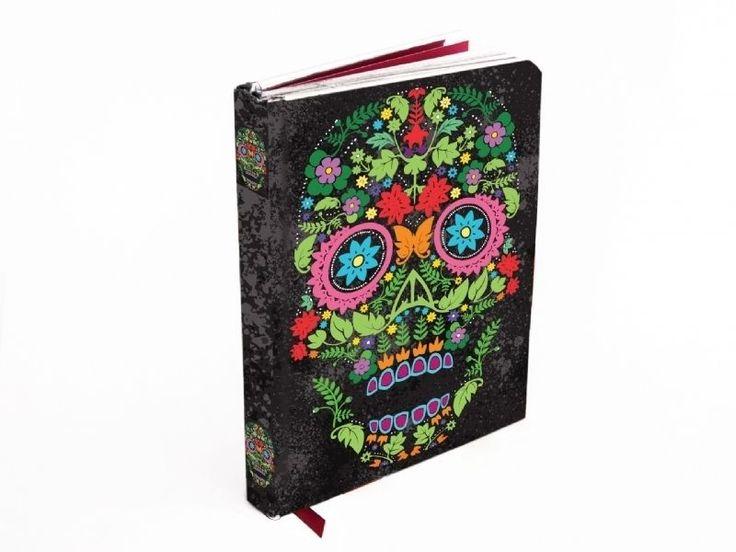 Foil Flower Coloured Skull Gothic Notebook (Flame Tree Foiled Journal) ~ NEW