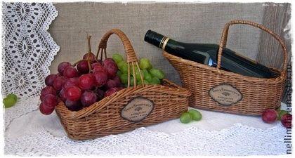 """Корзины, коробы ручной работы. Ярмарка Мастеров - ручная работа Плетеный набор   """" Vins & Fins """". Handmade."""