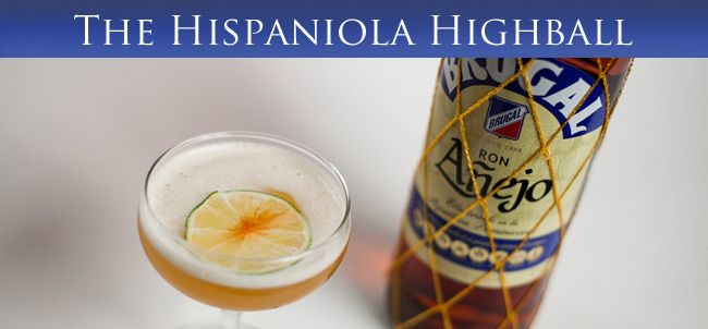 **Hispaniola Highball Drink Recipe** Ingredients: 1 1/2oz Brugal anejo rum 1/2oz grand mariner Dash angostura bitters Splash lime juice 5oz ginger beer Mixing Instructions: Shake all but ginger beer. Strain over ice, top w/ginger beer. Raise glass and toast.