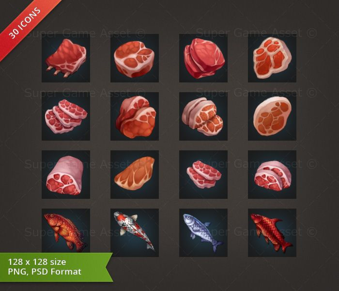 Meat & Fish RPG Crafting Icon set - game icons - Super Game Asset