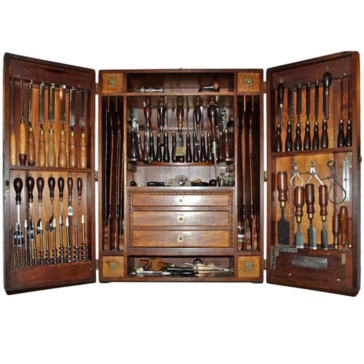 Carpenters Tool Cabinet  America  circa 1900  American, circa 1900 handcrafted tool cabinet of a master wood worker.