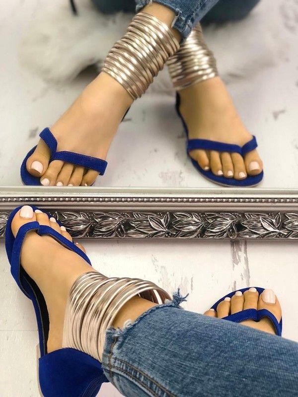 2fc5f1578 Metallic Embellished Flip Flops Platform Sandals