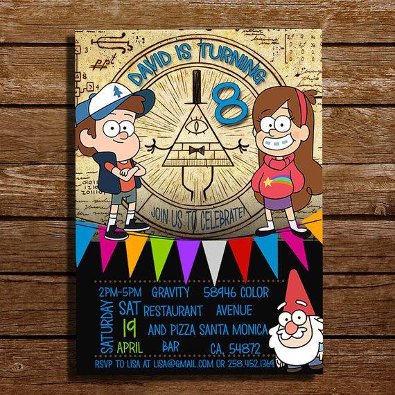 Gravity Falls Invitation  Gravity Falls by CoralPartyDecor on Etsy