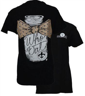 Southern Couture New Orleans Saints Who Dat Maon Jar Bow Fleur De Lis Girlie Bright T Shirt