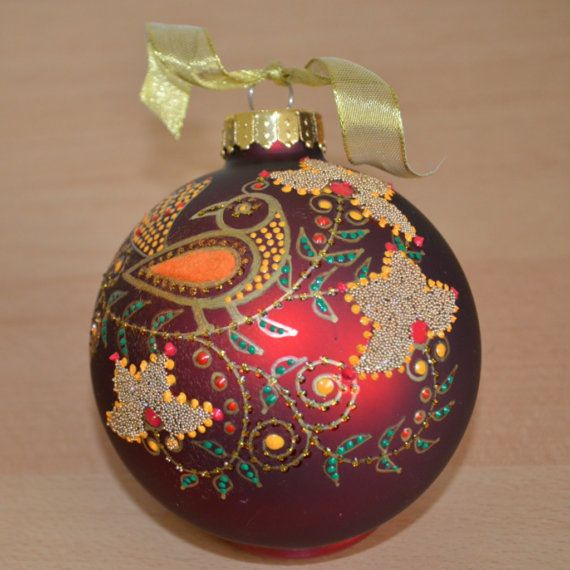 Hand painted ornament with bird by pritiornaments on etsy for Painted glass ornaments crafts