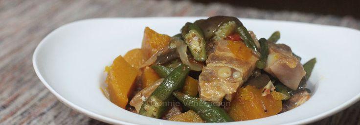 Pinakbet, an Ilocano pork and vegetable stew with shrimp paste