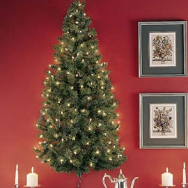 Pre-lit Wall Tree, 48 inches tall pre-lit Christmas tree | Solutions: Wall Hanging, Wall Trees, Hanging Christmas, Wall Christmas Trees, Little Spaces, Trees Christmas, 1 2 Christmas, Small Homes, Pre Lit Christmas