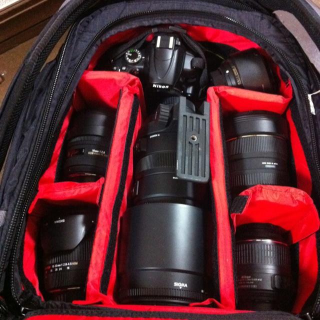 Inside my DA KINE camera bag.