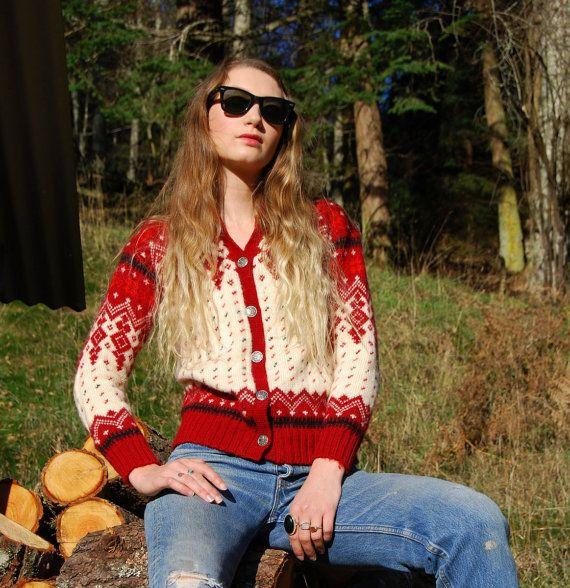 70's Norwegian Sweater Vintage Fair Isle Sweater by SurfandtheCity