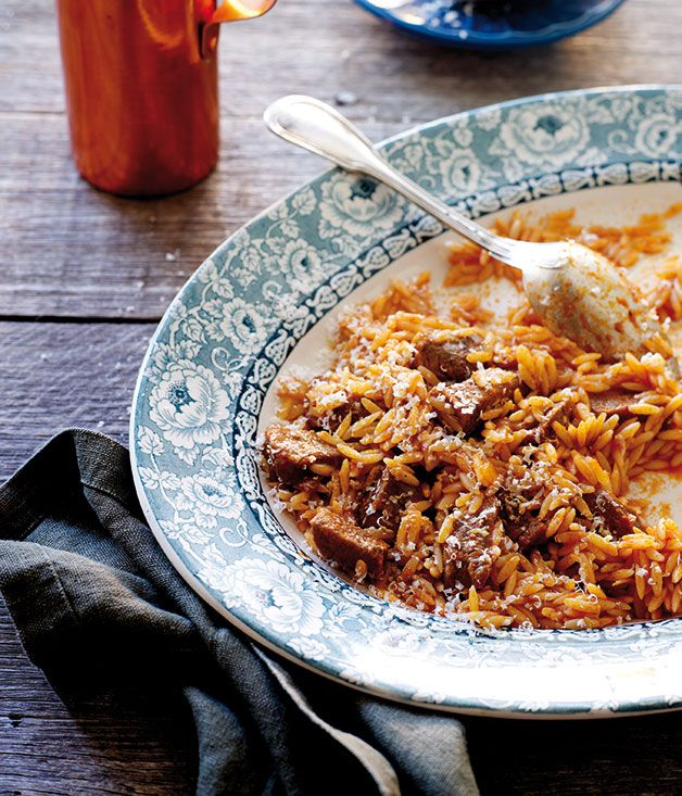 Yiouvetsi - chicken or beef slow baked in the oven with pasta in a tomato sauce