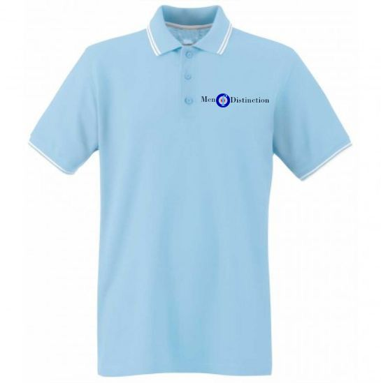 Men Of Distinction  Embroided Polo Shirt Sky