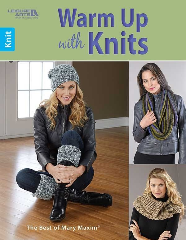 Warm Up with Knits - Warm Up with Knits from Leisure Arts presents a selection of fashionable cowls, caps, wraps, and hand warmers in this Best of Mary Maxim collection. Designs include Ribbed Collar, Cable and Rib Scarf, Classic Tam, Arrowhead Cable Set (hat and elbow-length mittens), Hat and Boot Cuff Set, Highlander Wrap, Grooved Cowl, Quick Knit Wrap (collared cape), Claire's Fingerless Gloves, Broken Rib Scarf, Claire's Cowl, and Quick Cowl. The designs are knit using various yarn…