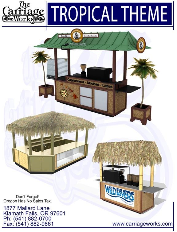 Tropical Kiosk  Our Beach Kiosks.  Carriage Works manufacture and designer of Food Carts, Tropical Carts, Kiosks, Coca Cola Carts, Amusment Parks Carts, Six Flags Carts, Sea World Carts, Legoland Carts, Vending Carts for Malls and Casinos.In buisness over 40 years!