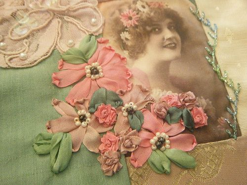 Crazy Quilting Silk Ribbon Embroidery Detail