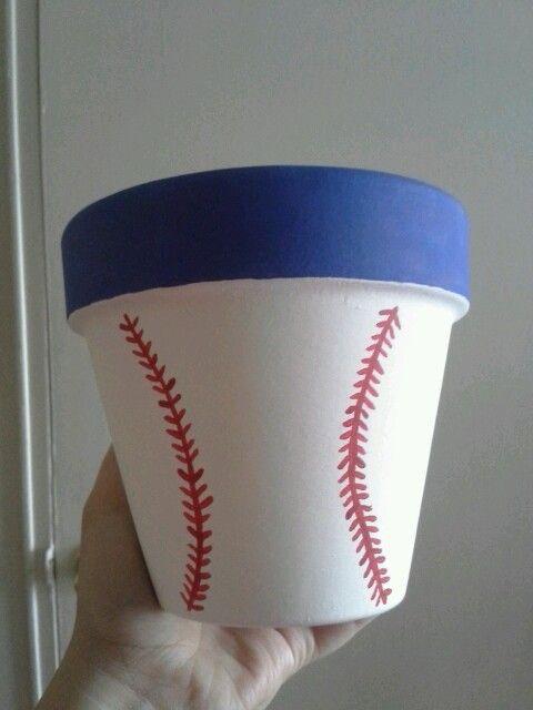 Baseball flower pot