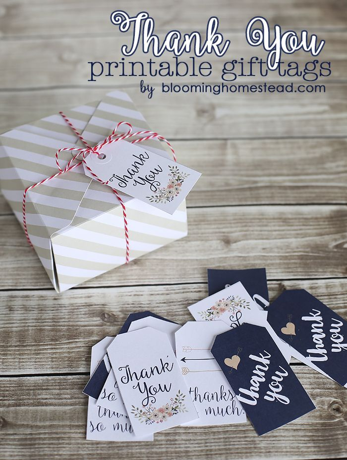 Beautiful printable thank you tags, perfect for any occasion. #wedding #gift #party