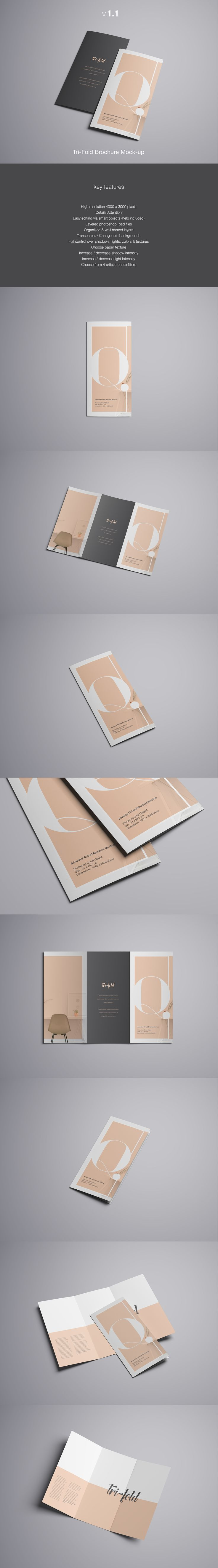 Advanced Tri-Fold Brochure Mockup - PSD on Behance