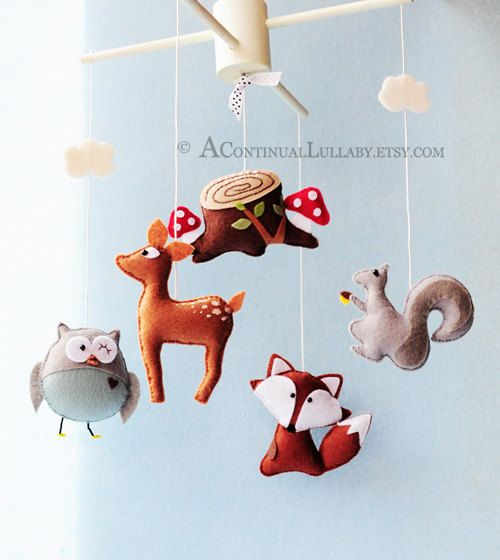 Woodland Mobile No2 by AContinualLullaby on Etsy  Sooooo cute! (So pricey!) But you get the idea.