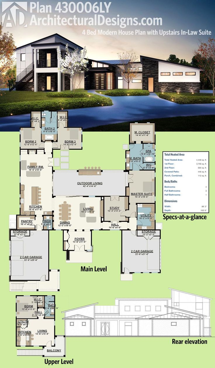 Best 25 modern house plans ideas on pinterest modern Modern mansion floor plans