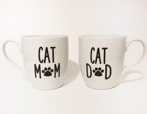 ◔✽ Cat #Mom, Cat #Dad Mug Set by #MommysCoffee http://etsy.me/2fErtDN