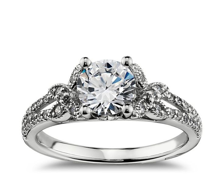 papillon pave diamond engagement ring in white gold build your own - Build Your Own Wedding Ring