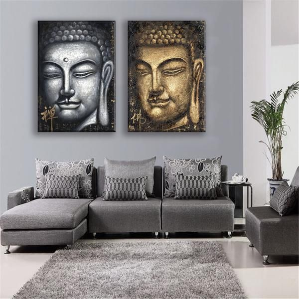 Buddha Face Canvas Painting 2pcs Oil Print Religious Wall Art Posters  Prints Living Room Bedroom Home Part 98
