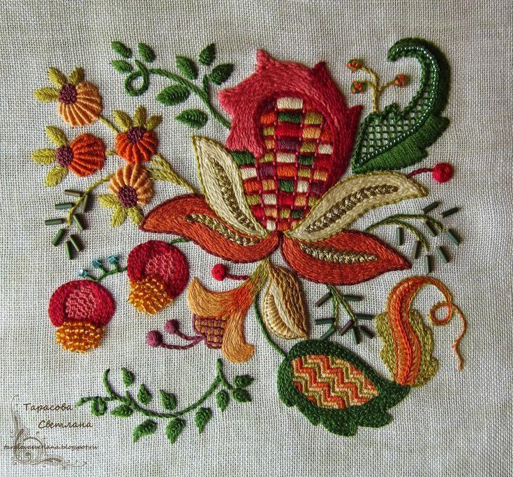 ручная вышивка в технике крюил или якобинская вышивка
