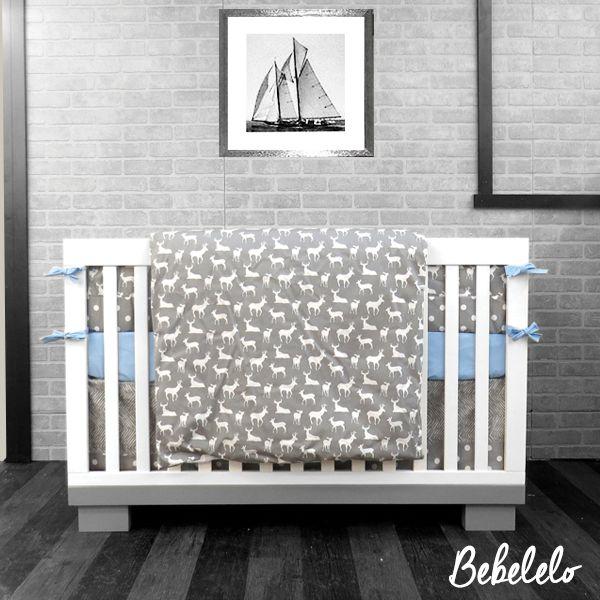 98 literie de bébé chevreuil gris blanc et bleu Literie 7 Morceaux Jupette contour de lit drap couette couvre couette oreiller couvre oreiller  #deer #chevreuil #blue #boy #gray #gris