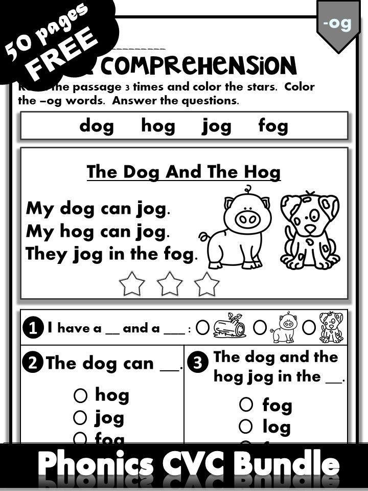 Free Phonics Worksheets Cvc Fluency Bundle Kindergarten First Grade Reading Comprehension Kindergarten Reading Comprehension Worksheets Phonics Worksheets Free phonics lessons for kindergarten