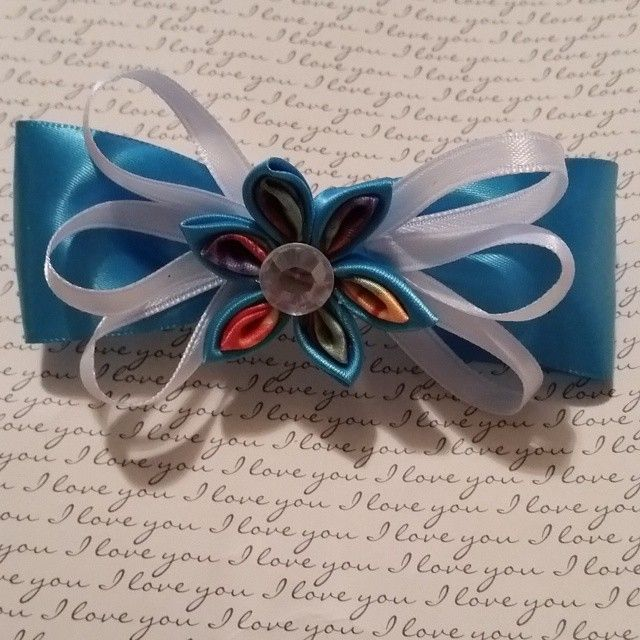 Kanzashi Flower Hair Bow Barrette in Teal and Tye-Dye. Bow measures 4' x 1 1/2'. Barrette itself measures 3' x 1 1/2'  #buynow for $8