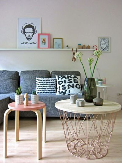 petit salon contemporain pastel scandinave