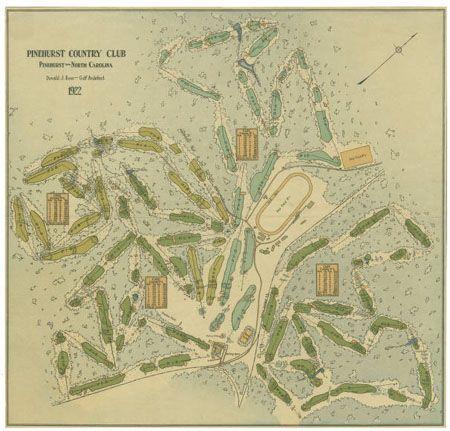Donald Ross Map of Pinehurst Golf Courses, 1922