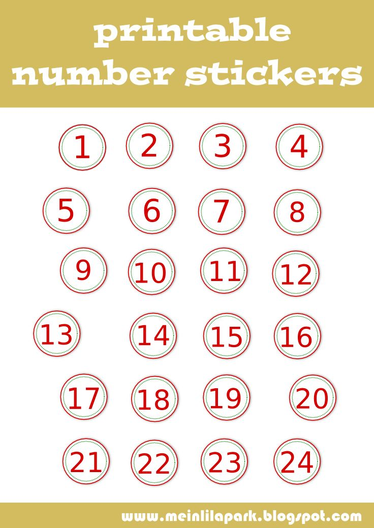 free digital AND printable NUMBER STICKERS for your DIY advent calendar – Zahlen Sticker Clipart – freebie | MeinLilaPark