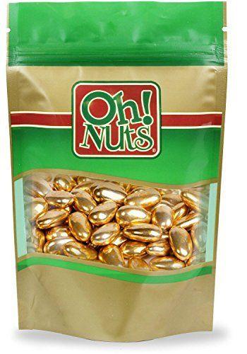 Gold Jordan Almonds, Shiny Metallic Gold Jordan Almonds - Oh! Nuts (2 LB Gold Jordan Almonds)