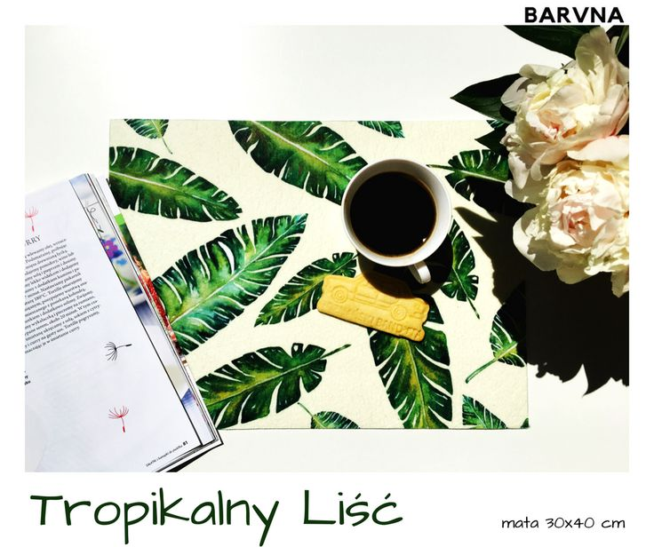 Tropical leaf tropikalny lisc kitchen mat table decortaion podkladka kuchenna dekoracja stolu