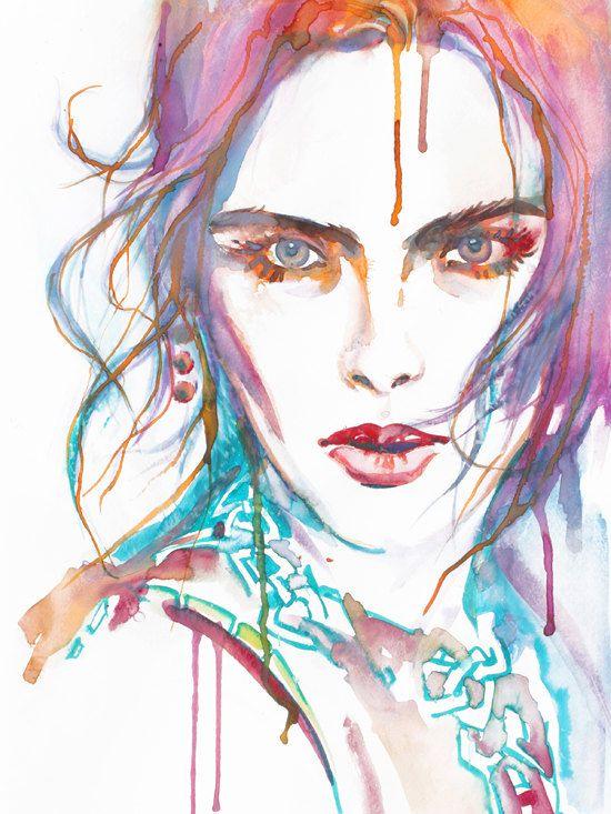 Watercolor Fine Art Fashion Model Woman Illustration Print ...