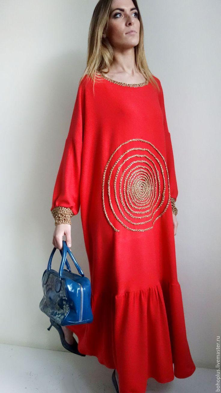 """Купить Яркое платье из шерстяного трикотажа """"Дания 0"""" - ярко-красный, однотонный, платье в пол"""