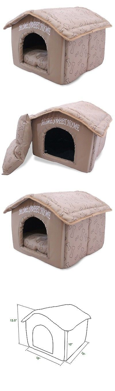 Dog Houses 108884: Indoor Dog House Kennel Plush Warm Portable Pet Bed Washable Small Puppy Cat BUY IT NOW ONLY: $41.15