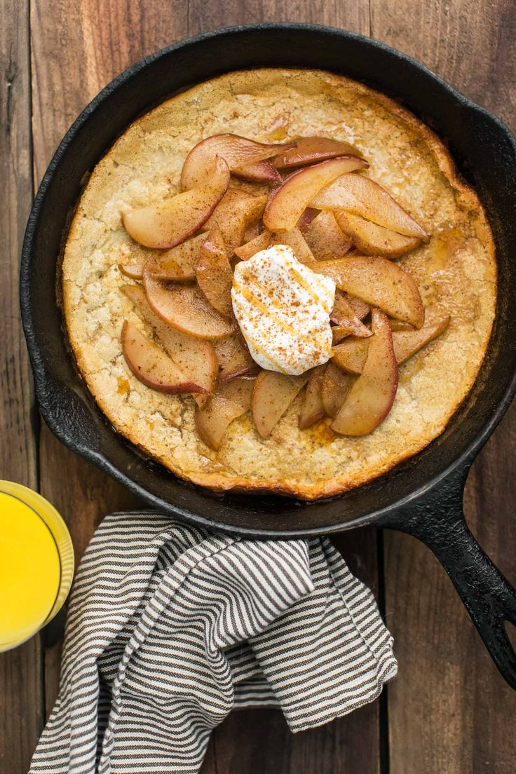 This sorghum oven pancake is a delicious topped with seasonal pears. A hearty, whole grain, gluten free breakfast to start your day!