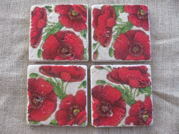 Red Poppies Natural Stone Tile Drink Coasters - Set of 4 on Etsy, $14.99