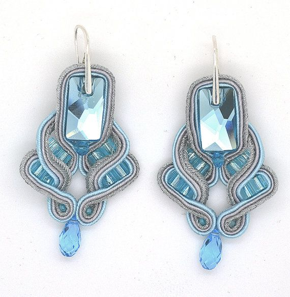 Soutache Earrings Slightly Blue by BeExceptional on Etsy