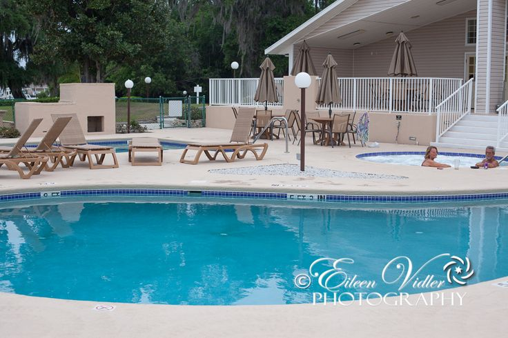 Main pool and lounging area at Seasons in the Sun RV Resort, Titusville, Florida
