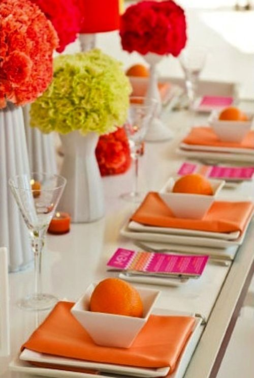 Contemporary Tablescape With Lots Of Bright Color Against