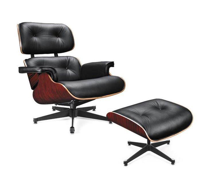 Modern Black Leather Lounge Chair