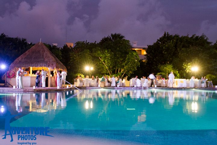 preferred pool wedding reception at now sapphire riviera