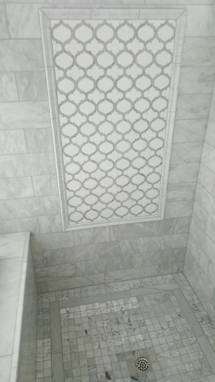Arabesque Marrakech White Thos Carrara Marble Waterjet Mosaic