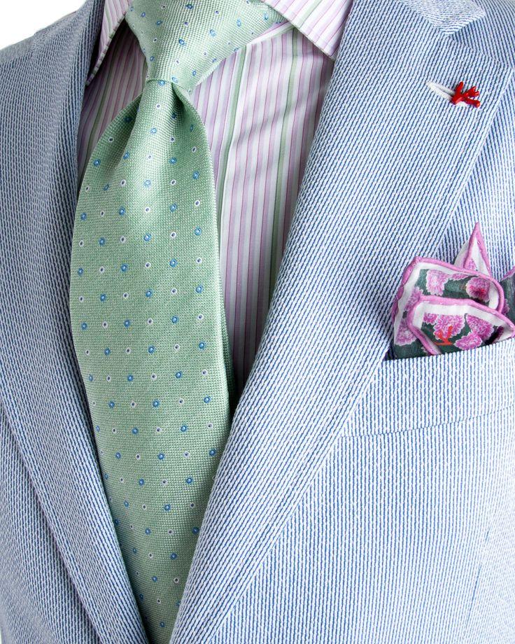 Isaia | Blue Searsucker Suit | Apparel | Men's