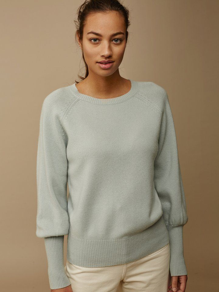 0b23682078f Soft Goat Women s High Rib Sleeve Sweater Seasalt