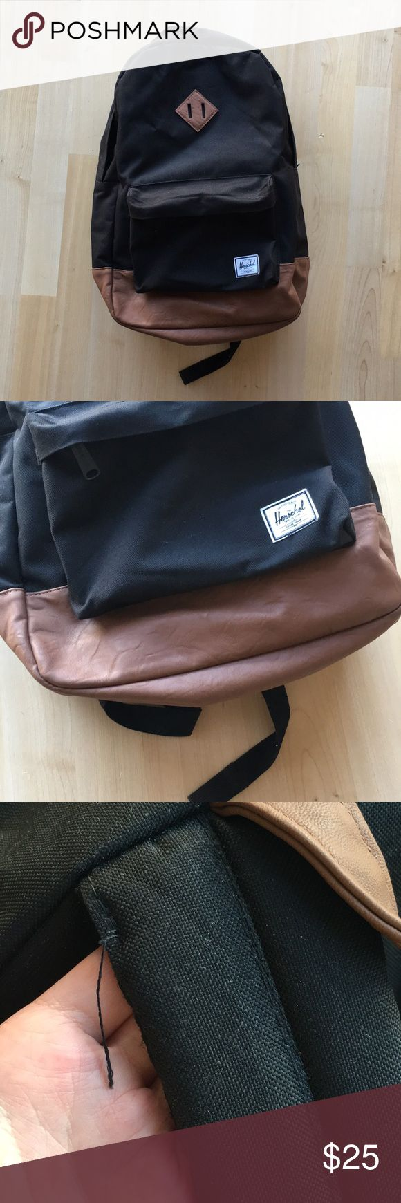 Herschel black heritage backpack Used this backpack for maybe a semester in college and has been in storage since. There is some sign of wear as seen in the pictures.   Open to offers! Herschel Supply Company Bags Backpacks