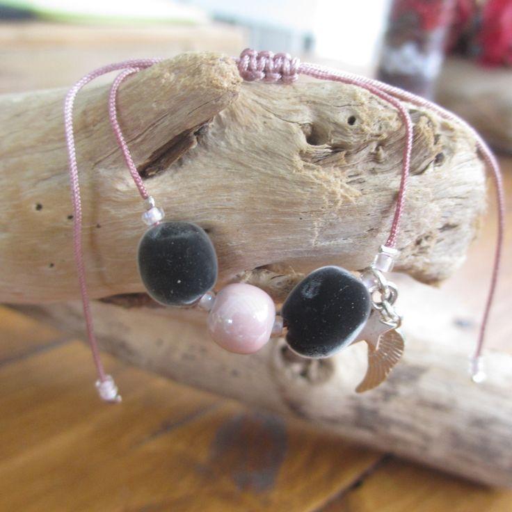 Bracelet Perle du Zanzibar et perle céramique : Bracelet par inspiration-antilles